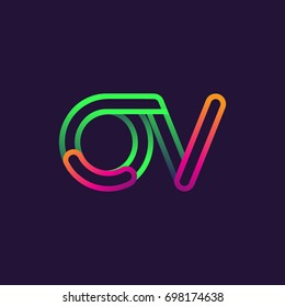 initial logo letter OV, linked outline rounded logo, colorful initial logo for business name and company identity.