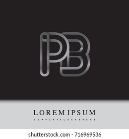 initial logo letter PB, linked outline silver colored, rounded logotype
