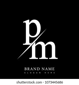initial logo letter PM for company name black and white color and slash design. vector logotype for business and company identity.