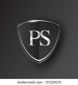 Initial logo letter PS with shield Icon silver color isolated on black background, logotype design for company identity.