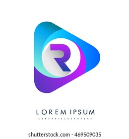 Initial logo letter R colorful icon in the triangle shape, Vector design template elements for your application or company identity.