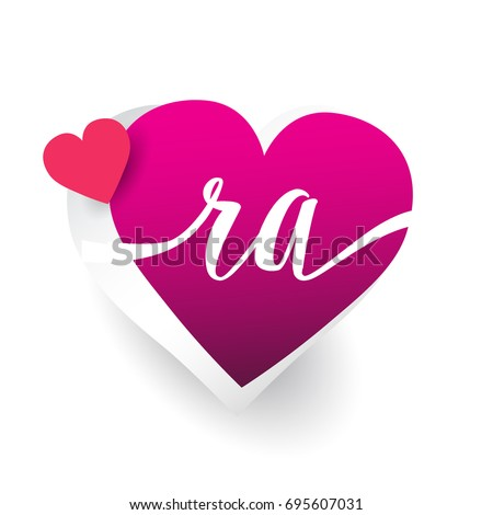 Initial Logo Letter Ra Heart Shape Stock Vector Royalty Free