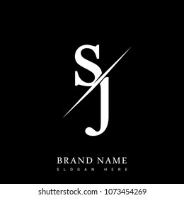 initial logo letter SJ for company name black and white color and slash design. vector logotype for business and company identity.