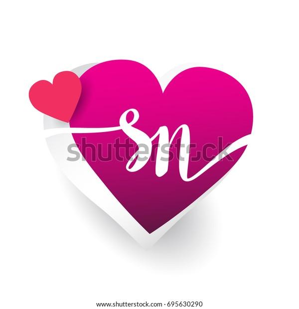 Initial Logo Letter Sn Heart Shape Business Finance Signs