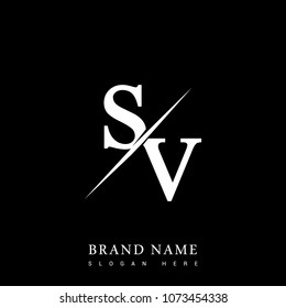 initial logo letter SV for company name black and white color and slash design. vector logotype for business and company identity.