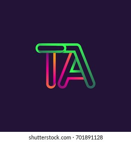 initial logo letter TA, linked outline rounded logo, colorful initial logo for business name and company identity.