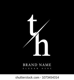 initial logo letter TH for company name black and white color and slash design. vector logotype for business and company identity.