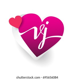 Initial Logo Letter VJ With Heart Shape Red Colored Design For Wedding Invitation