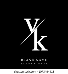 Initial Logo Letter VK For Company Name Black And White Color Slash Design Vector