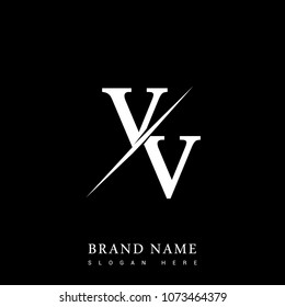 initial logo letter VV for company name black and white color and slash design. vector logotype for business and company identity.