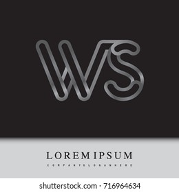 initial logo letter WS, linked outline silver colored, rounded logotype