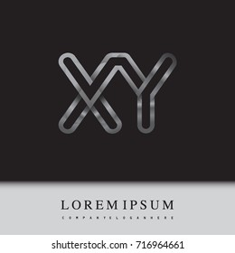 initial logo letter XY, linked outline silver colored, rounded logotype