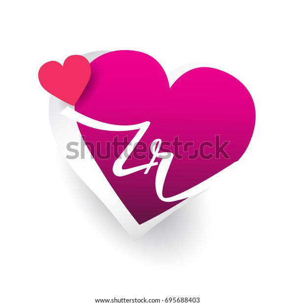 Initial Logo Letter Zr Heart Shape Stock Vector Royalty Free