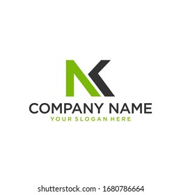 Initial logo of the letters N and K. The logo can be applied to various meida and industries.