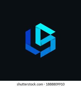 initial logo LS origami polygon