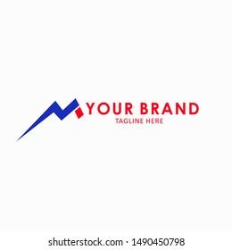 initial logo M vector templates. electric flash logo