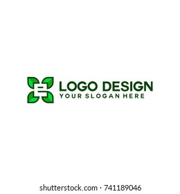 initial logo with nature green color