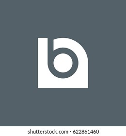 initial logo nb, bn, b inside n rounded letter negative space logo white gray background