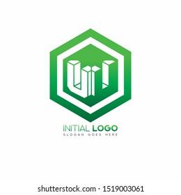 Initial logo negative space alphabet UU 3d green cube