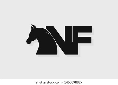 Initial logo NF letter with stallion head. The combination of letters N and F is black