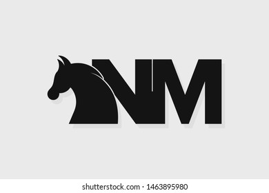 Initial logo NM letter with stallion head. The combination of letters N and M is black
