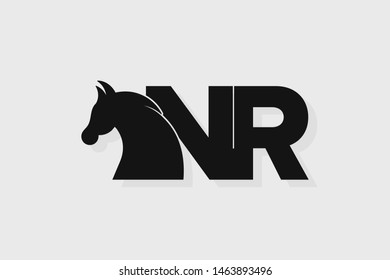 Initial logo NR letter with stallion head. The combination of letters N and R is black