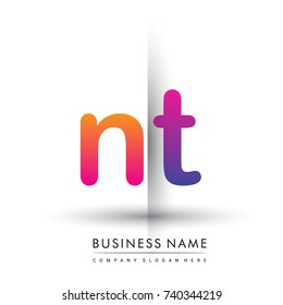 initial logo NT lowercase letter, orange and magenta creative logotype concept, modern and simple logo design.