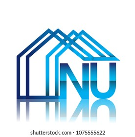 initial logo NU with house icon, business logo and property developer.