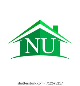 initial logo NU with house icon and green color, business logo and property developer.