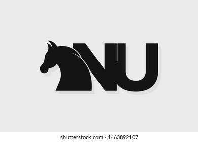 Initial logo NU letter with stallion head. The combination of letters N and U is black
