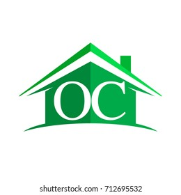 initial logo OC with house icon and green color, business logo and property developer.