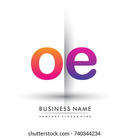 initial logo OE lowercase letter, orange and magenta creative logotype concept, modern and simple logo design.