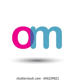 initial logo OM lowercase letter, blue and pink overlap transparent logo, modern and simple logo design.