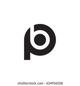 initial logo pb, bp, b inside p rounded letter negative space logo black