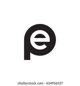initial logo pe, ep, e inside p rounded letter negative space logo black