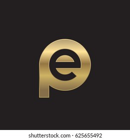 initial logo pe, ep, e inside p rounded letter negative space logo gold
