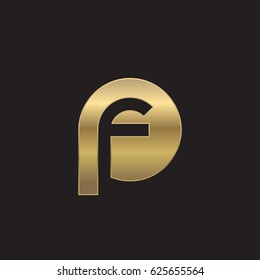 initial logo pf, fp, f inside p rounded letter negative space logo gold