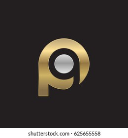 initial logo pg, gp, g inside p rounded letter negative space logo silver gold