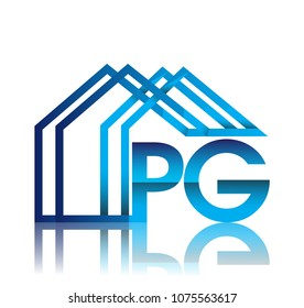 initial logo PG with house icon, business logo and property developer.