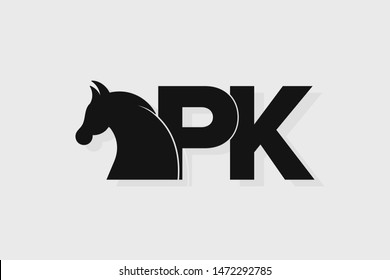 Initial logo PK letter with stallion head. The combination of letters P and K is black