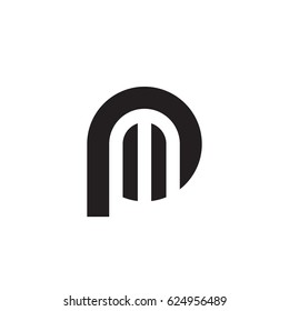 initial logo pm, mp, m inside p rounded letter negative space logo black