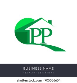 initial logo PP with house icon, business logo and property developer.