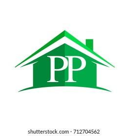 initial logo PP with house icon and green color, business logo and property developer.