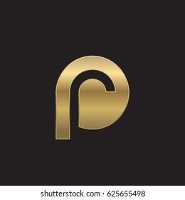 initial logo pr, rp, r inside p rounded letter negative space logo gold