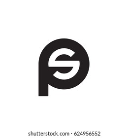 initial logo ps, sp, s inside p rounded letter negative space logo black