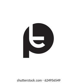 initial logo pt, tp, t inside p rounded letter negative space logo black