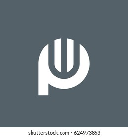 initial logo pw, wp, w inside p rounded letter negative space logo white gray background