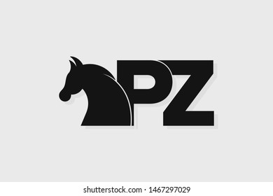 Initial logo PZ letter with stallion head. The combination of letters P and Z is black