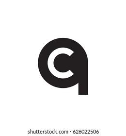 initial logo qc, cq, c inside q rounded letter negative space logo black