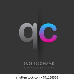 initial logo QC lowercase letter colored grey and blue, pink, creative logotype concept, modern and simple logo design, logo design concept for business and corporate identity.